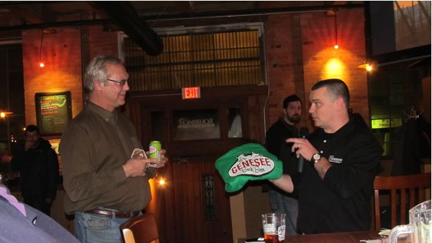 Photo of District WNY Meeting at Rohrbach Brewing Co. President Jim McDermott thanking speaker Don Bryant